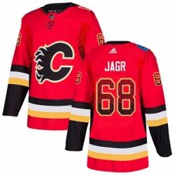 Mens Adidas Calgary Flames 68 Jaromir Jagr Authentic Red Drift Fashion NHL Jersey