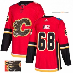 Mens Adidas Calgary Flames 68 Jaromir Jagr Authentic Red Fashion Gold NHL Jersey
