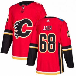 Mens Adidas Calgary Flames 68 Jaromir Jagr Authentic Red Home NHL Jersey