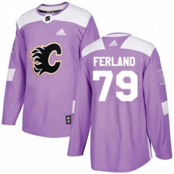 Mens Adidas Calgary Flames 79 Michael Ferland Authentic Purple Fights Cancer Practice NHL Jersey