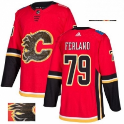 Mens Adidas Calgary Flames 79 Michael Ferland Authentic Red Fashion Gold NHL Jersey