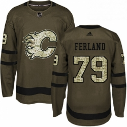 Mens Adidas Calgary Flames 79 Michael Ferland Premier Green Salute to Service NHL Jersey