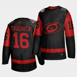 Carolina Hurricanes 16 Vincent Trocheck Black Men 2021 Stadium Series Outdoor Game Jersey