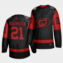 Carolina Hurricanes 21 Nino Niederreiter Black Men 2021 Stadium Series Outdoor Game Jersey