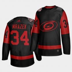 Carolina Hurricanes 34 Petr Mrazek Black Men 2021 Stadium Series Outdoor Game Jersey
