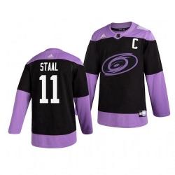 Hurricanes 11 Jordan Staal Black Purple Hockey Fights Cancer Adidas Jersey