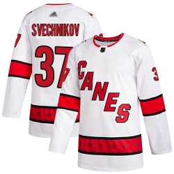Hurricanes 37 Andrei Svechnikov White Road Authentic Stitched Hockey Jersey