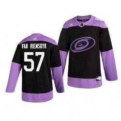 Hurricanes 57 Trevor Van Riemsdyk Black Purple Hockey Fights Cancer Adidas Jersey