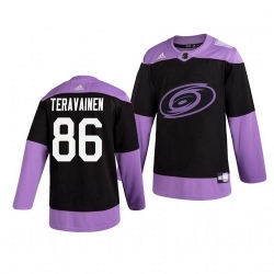 Hurricanes 86 Teuvo Teravainen Black Purple Hockey Fights Cancer Adidas Jersey