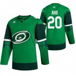 Men Carolina Hurricanes 20 Sebastian Aho Green 2020 Adidas Jersey