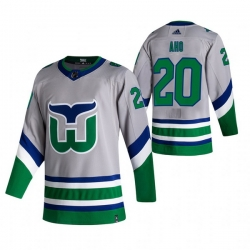 Men Carolina Hurricanes 20 Sebastian Aho Grey Adidas 2020 21 Reverse Retro Alternate NHL Jersey