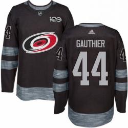 Mens Adidas Carolina Hurricanes 44 Julien Gauthier Authentic Black 1917 2017 100th Anniversary NHL Jersey