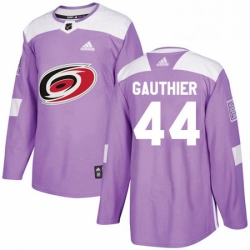 Mens Adidas Carolina Hurricanes 44 Julien Gauthier Authentic Purple Fights Cancer Practice NHL Jersey