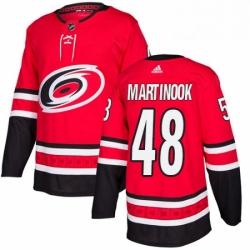 Mens Adidas Carolina Hurricanes 48 Jordan Martinook Authentic Red Home NHL Jersey