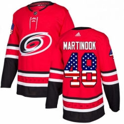 Mens Adidas Carolina Hurricanes 48 Jordan Martinook Authentic Red USA Flag Fashion NHL Jersey