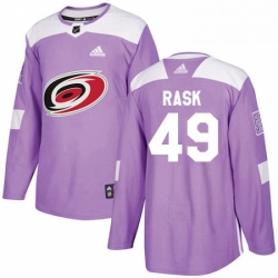 Mens Adidas Carolina Hurricanes 49 Victor Rask Authentic Purple Fights Cancer Practice NHL Jersey