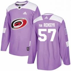 Mens Adidas Carolina Hurricanes 57 Trevor Van Riemsdyk Authentic Purple Fights Cancer Practice NHL Jersey