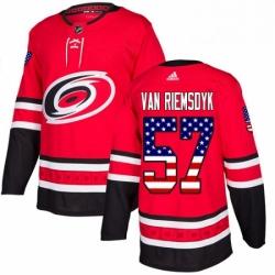 Mens Adidas Carolina Hurricanes 57 Trevor Van Riemsdyk Authentic Red USA Flag Fashion NHL Jersey