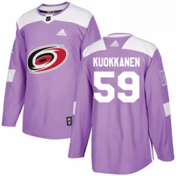 Mens Adidas Carolina Hurricanes 59 Janne Kuokkanen Authentic Purple Fights Cancer Practice NHL Jersey