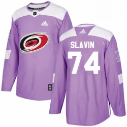 Mens Adidas Carolina Hurricanes 74 Jaccob Slavin Authentic Purple Fights Cancer Practice NHL Jersey