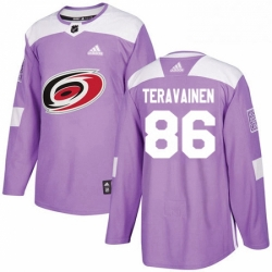 Mens Adidas Carolina Hurricanes 86 Teuvo Teravainen Authentic Purple Fights Cancer Practice NHL Jersey