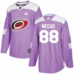 Mens Adidas Carolina Hurricanes 88 Martin Necas Authentic Purple Fights Cancer Practice NHL Jersey