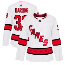 Women Hurricanes 33 Scott Darling White Road Authentic Stitched Hockey Jersey