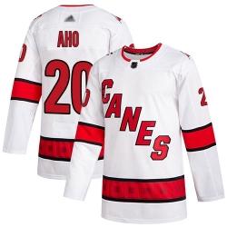 Youth Hurricanes 20 Sebastian Aho White Road Authentic Stitched Hockey Jersey