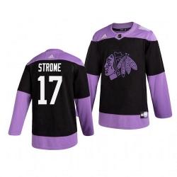 Blackhawks 17 Dylan Strome Black Purple Hockey Fights Cancer Adidas Jersey