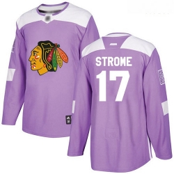 Blackhawks #17 Dylan Strome Purple Authentic Fights Cancer Stitched Hockey Jersey