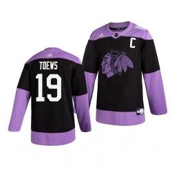 Blackhawks 19 Jonathan Toews Black Purple Hockey Fights Cancer Adidas Jersey