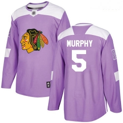 Blackhawks #5 Connor Murphy Purple Authentic Fights Cancer Stitched Hockey Jersey
