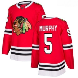 Blackhawks #5 Connor Murphy Red Home Authentic Stitched Hockey Jersey