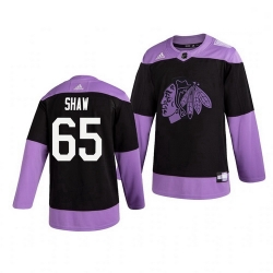 Blackhawks 65 Andrew Shaw Black Purple Hockey Fights Cancer Adidas Jersey