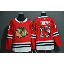 Men Chicago Blackhawks 19 Jonathan Toews Red Fashion Adidas Jersey