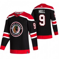 Men Chicago Blackhawks 9 Bobby Hull Black Adidas 2020 21 Reverse Retro Alternate NHL Jersey
