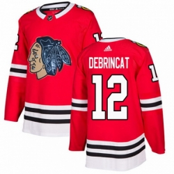 Men's Adidas Chicago Blackhawks #12 Alex DeBrincat Authentic Red Fashion Gold NHL Jersey