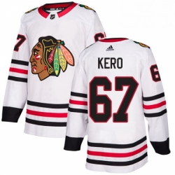 Mens Adidas Chicago Blackhawks 67 Tanner Kero Authentic White Away NHL Jersey