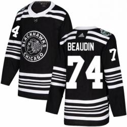 Mens Adidas Chicago Blackhawks 74 Nicolas Beaudin Authentic Black 2019 Winter Classic NHL Jerse
