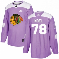 Mens Adidas Chicago Blackhawks 78 Nathan Noel Authentic Purple Fights Cancer Practice NHL Jersey