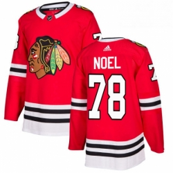 Mens Adidas Chicago Blackhawks 78 Nathan Noel Authentic Red Home NHL Jersey