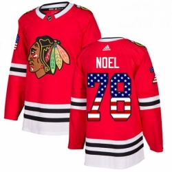 Mens Adidas Chicago Blackhawks 78 Nathan Noel Authentic Red USA Flag Fashion NHL Jersey