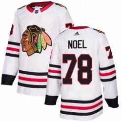 Mens Adidas Chicago Blackhawks 78 Nathan Noel Authentic White Away NHL Jersey