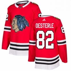 Mens Adidas Chicago Blackhawks 82 Jordan Oesterle Authentic Red Fashion Gold NHL Jersey