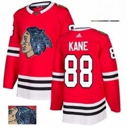 Mens Adidas Chicago Blackhawks 88 Patrick Kane Authentic Red Fashion Gold NHL Jersey