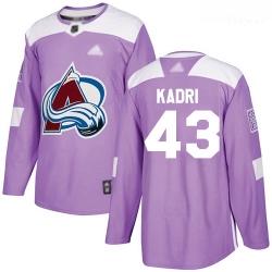 Avalanche #43 Nazem Kadri Purple Authentic Fights Cancer Stitched Hockey Jersey