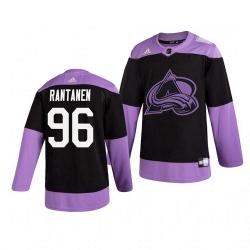 Avalanche 96 Mikko Rantanen Black Purple Hockey Fights Cancer Adidas Jersey