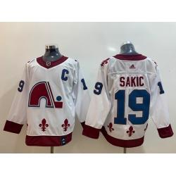 Men Colorado Avalanche 19 Joe Sakic White 2020 21 Reverse Retro Adidas Jersey