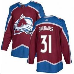 Men Colorado Avalanche 31 Philipp Grubauer Burgundy Adidas Jersey