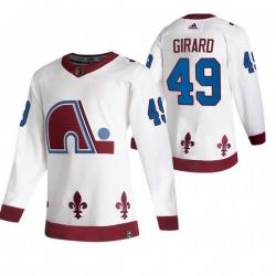 Men Colorado Avalanche 49 Samuel Girard White Adidas 2020 21 Reverse Retro Alternate NHL Jersey